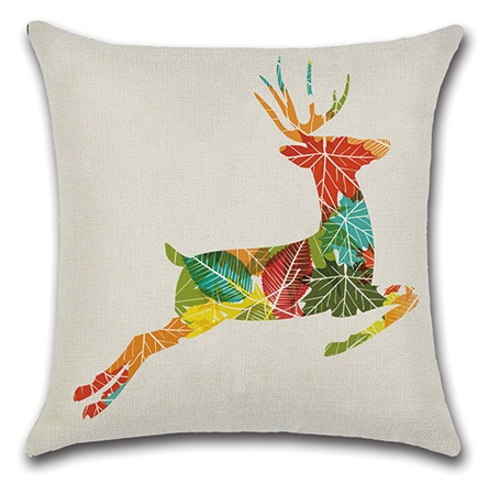 2pcs Colorful Leaves Deer Red Snowflake Water Colored Gemetric Creative Animal Beautiful Pillow Cover Cushion Cover for Sofa-in Cushion Cover from Home & Garden