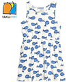 YKYY YAKUYIYI White Whales Print Girls A-line Dress Brief Sleeveless Baby Girls Dress Tie Waist Kids Dress Children Clothing