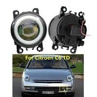 2PCS LED Fog Lamps light For Citroen C6 TD_ 2005 2013 C3 C4 C5 New Car Accessories 90mm Angel eye