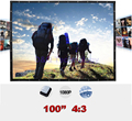 100 inches 4:3 Portable Wall Mounted Matt White Canvas Folding Outdoor Projector Screen for LED LCD HD Movie Projection Display