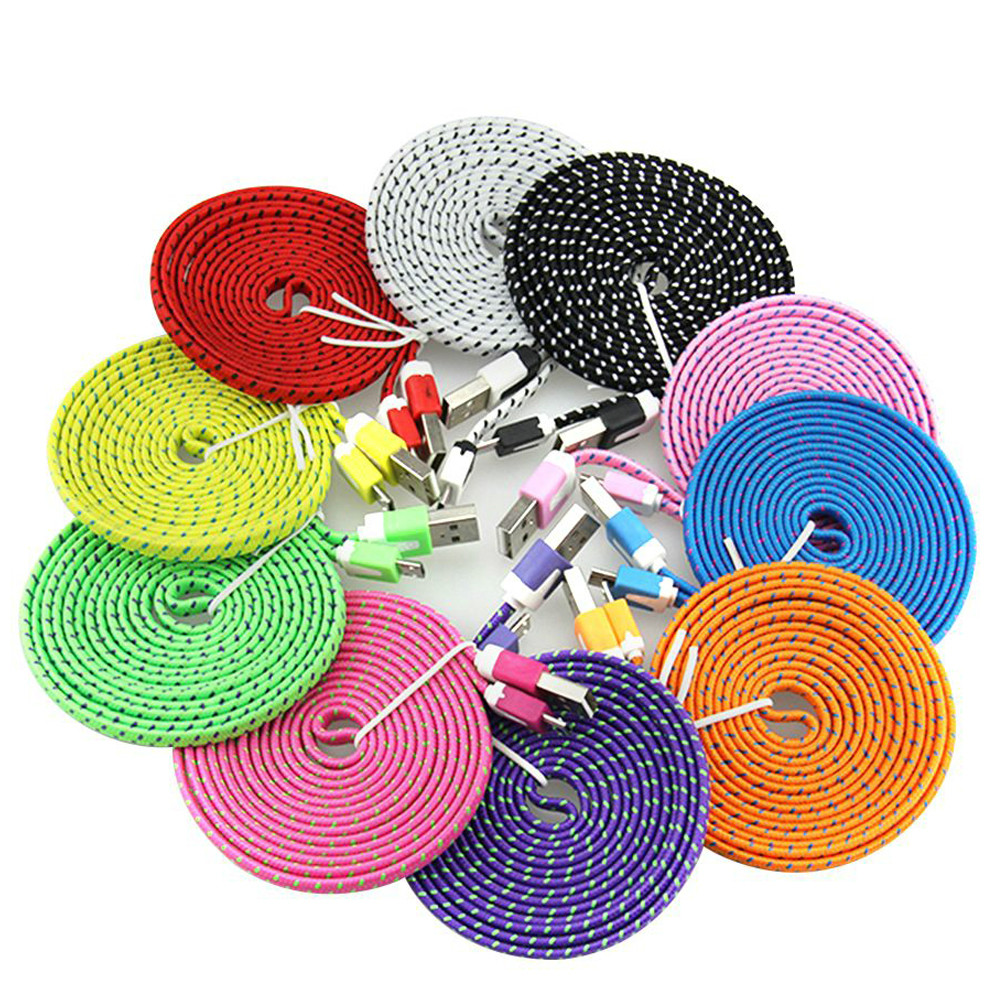 Wholesale 1m 6ft 10ft Flat Noodle Braided Fabric 8pin USB Data Nylon Sync Charger Cable Adapter