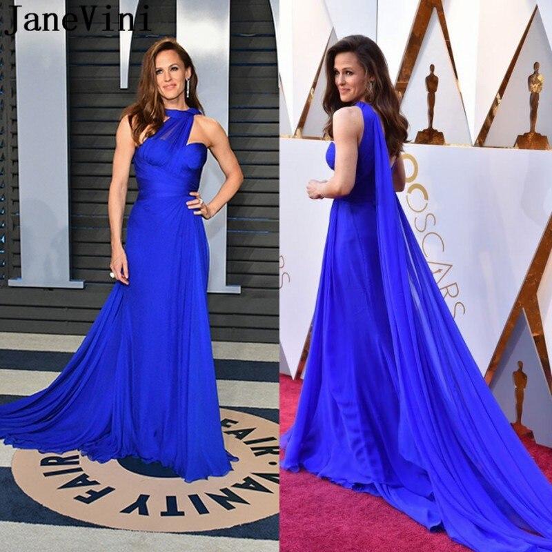 Robe de célébrité Sexy bleu Royal JaneVini 2019 robe de soirée sirène Oscar Zeemeermin en mousseline de soie Jennifer Gardner