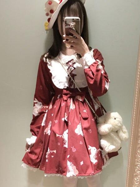 Robe Lolita douce OP robe Lolita bordeaux robe à lacets imprimé manches longues robe évasée pour Lolita