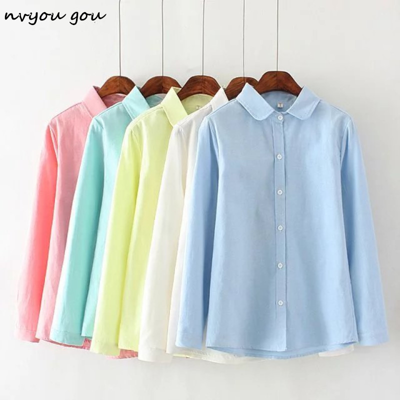 Nvyou Gou Autumn Blouses 2019 Female Long Sleeves Cotton Oxford White Blue Solid Button Down Shirts Elegant Office Women Shirts