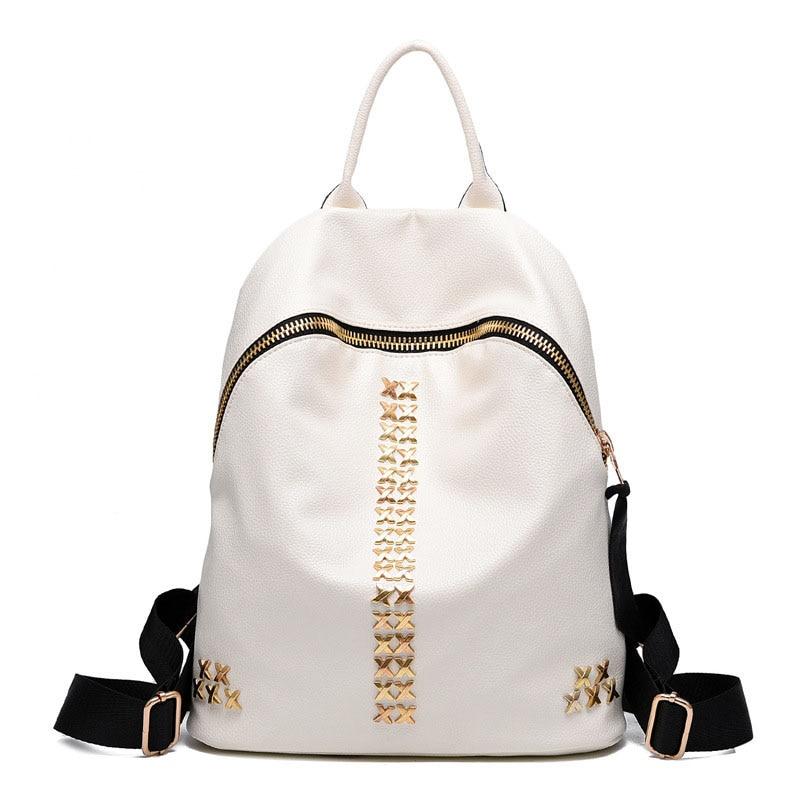 2017 Women Fashion Designer Leather Backpacks Black Mochila Brand Ladies  Girls Teenage Backpack Rivet Satchel Female Travel Bag c50f1fa878