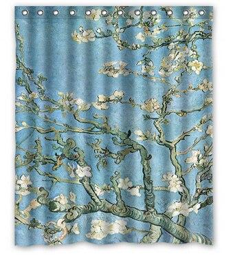 DIY Van Gogh Starry Night Cherry Blossom Shower Curtain 160x180cm High Quality Waterproof Bath