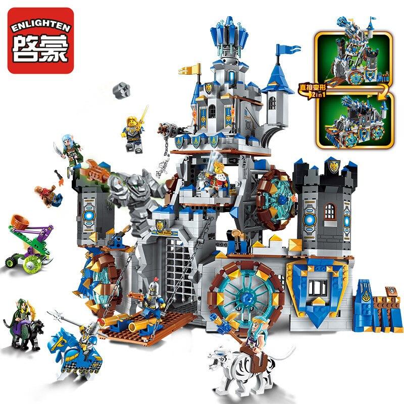 Éclairer le bloc de construction château chevaliers le Lion château 9 figure briques éducatives jouet pour garçon cadeau-pas de boîte