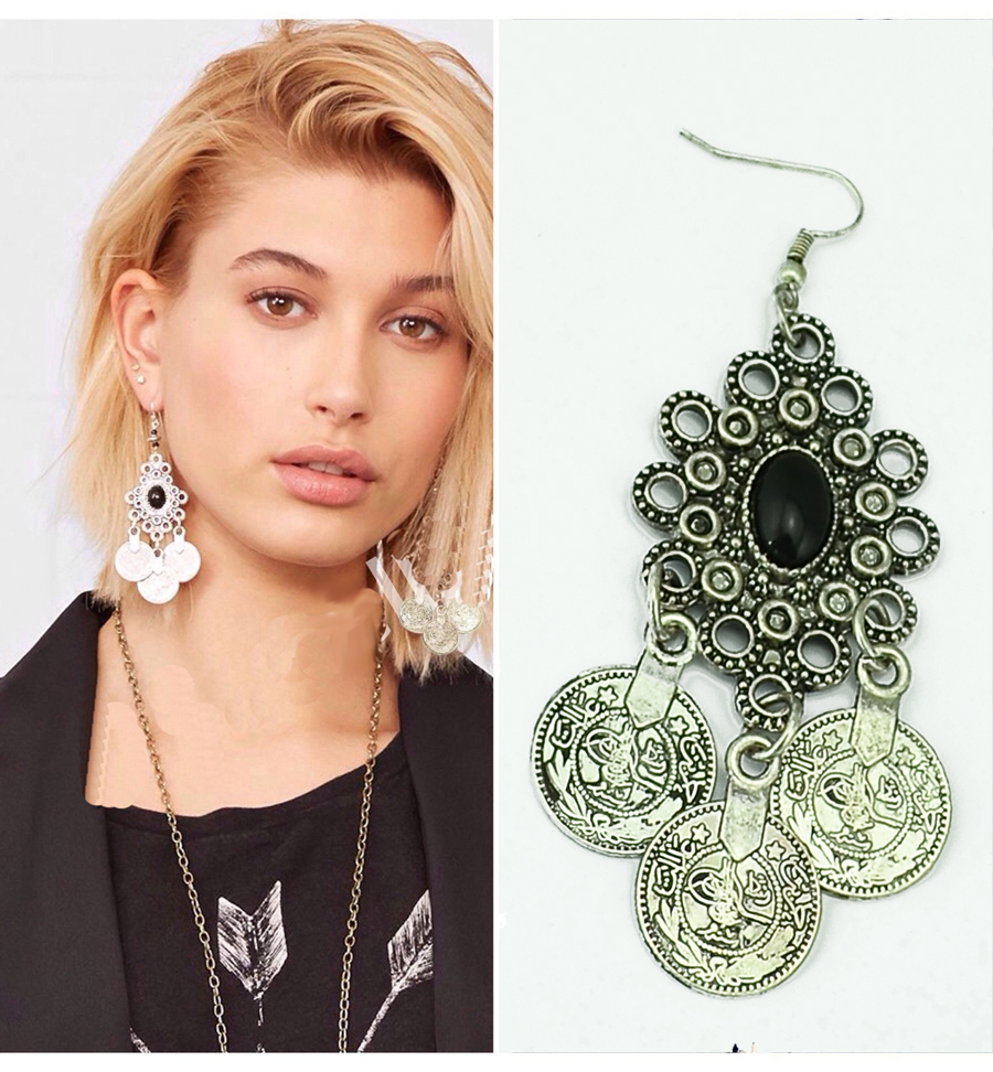 Silver Turkish Coin Long Dangle Earrings floral Design Boho Gypsy Beachy Ethnic Tribal Fashion Jewelry Bohemian Vintage Earrings