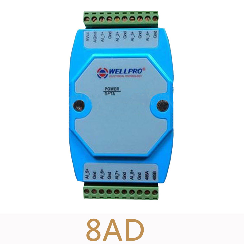 2pcs/lot 8AD 4-20MA/0-20MA 8 Road analog input isolation data acquisition module Current Collecting module MODBUS RS485