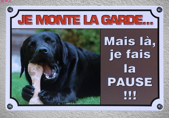 1 pc French Quotes saying Dog house no trespassing Tin Plate Sign wall plaques house Decoration Dropshipping metal Poster