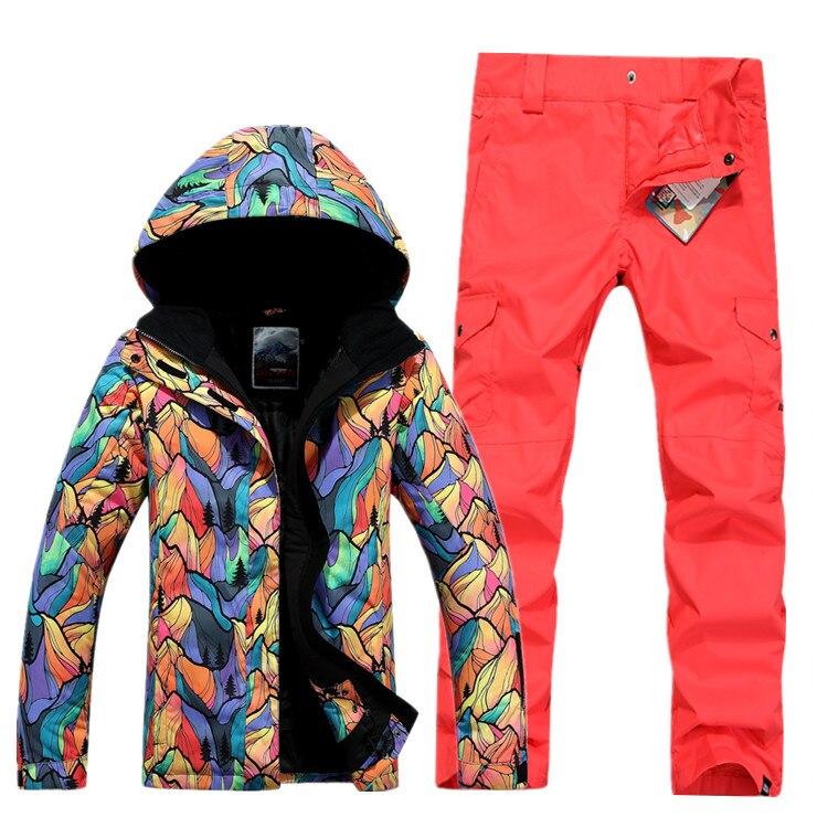 GSOU SNOW combinaison de Ski femme simple Double planche extérieur épais chaud imperméable veste de Ski + pantalon de Ski taille XS-L - 3