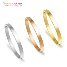 Yunkingdom stainless steel bracelets & bangles for women titanium steel bangles three colors gold ladies bangles new arrival spring wire line colorful titanium steel bracelet stretch stainless steel cable bangles for women