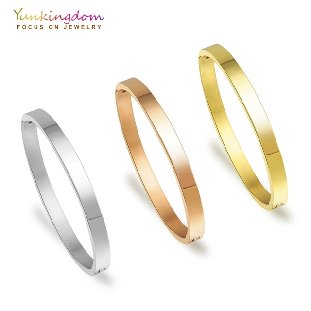 Yunkingdom stainless steel bracelets & bangles for women titanium steel bangles three colors gold ladies bangles Dropshipping