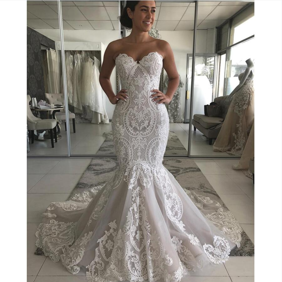Mermaid Lace Wedding Gown: Sweetheart Neckline Lace Mermaid Wedding Dresses New 2019