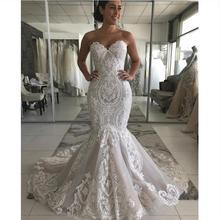 Vestidos de novia de sirena de encaje escote corazón nuevo 2020 Amanda Novias