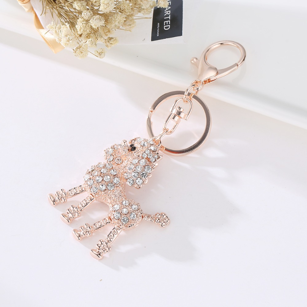 Key Chains Crown Poodle Dog Rhinestone Crystal Key Ring Chains Holder Bag Buckle Pendant For Car Keyrings jewelry in Key Chains from Jewelry Accessories