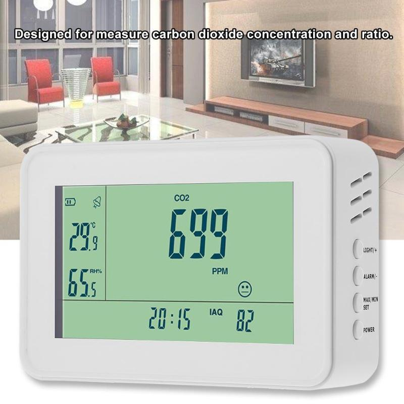 YEH-40 Carbon Dioxide Detector CO2 Monitor Alarm Thermometer Humidity Home Clock Air Quality Tester US Plug