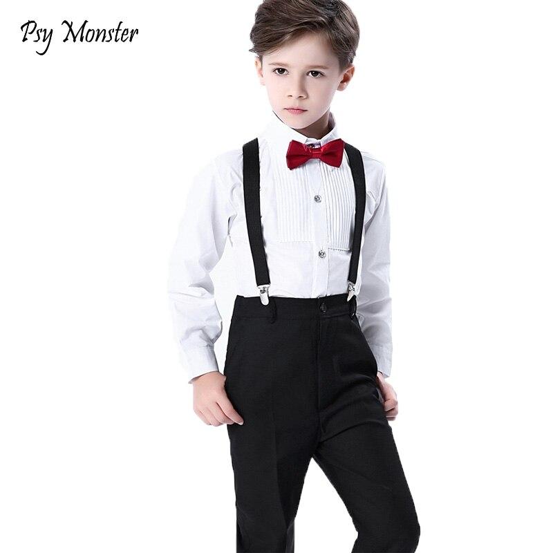 Hochzeit Anzug Kinder Sets Für Jungen Formale Prinz Schule Student Kleid Gentleman Kinder Strap Hemd Hosen Bowtie 4 Stücke Zeremonie Kostüm
