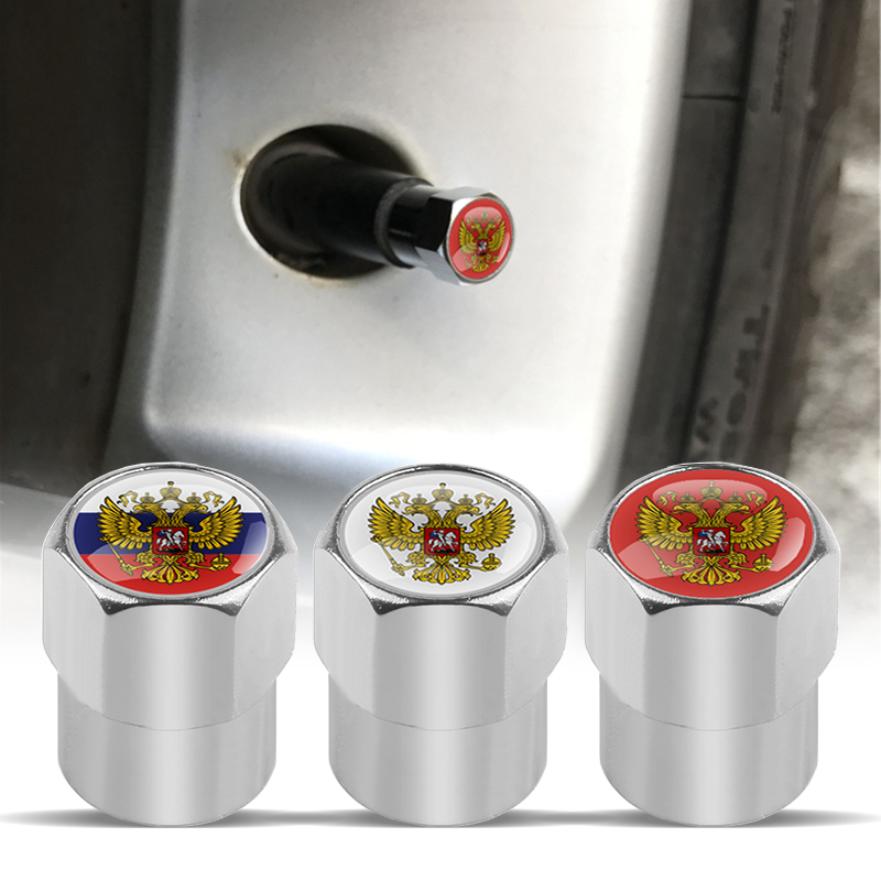 4pcs Coat Of Arms Of Russia Wheel Tire Valve Cap Tyre Dust Caps For Renault Lada Mazda MG Hyundai Bmw Audi Lada Car Accessories