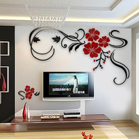 Rich lucky flower crystal three dimensional wall stickers Rose blossom Living room 3d background flower vine butterfly DIY art