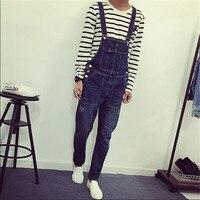 New Mens Skinny Jean Overalls Blue Suspenders Multi Pocket Bib Pants Holes Denim Trousers Plus Size