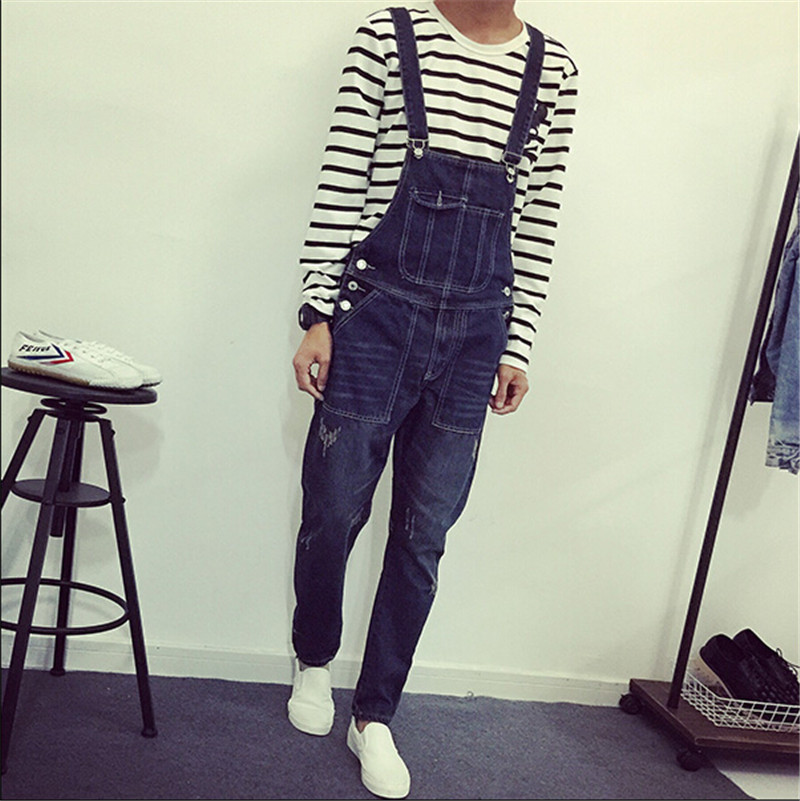 ФОТО New Mens Skinny Jean Overalls Blue Suspenders Multi-pocket Bib Pants Holes Denim Trousers Plus Size M-2XL