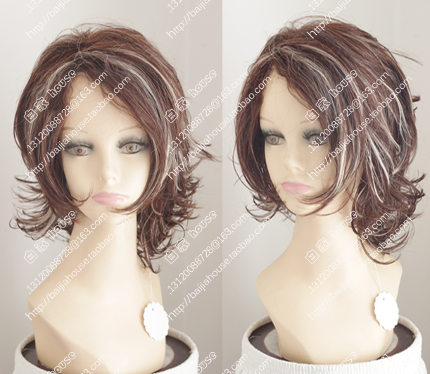 2016 New Wig Brown Highlights Short Curly Hair Europe And United