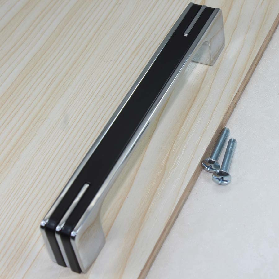 Chrome Handles For Kitchen Cabinets Us 59 96mm Fashion Simple Modern Furniture Handles Shiny Silver Kitchen Cabinet Drawer Pull Black Chrome Dresser Cupboard Door Handles In Cabinet