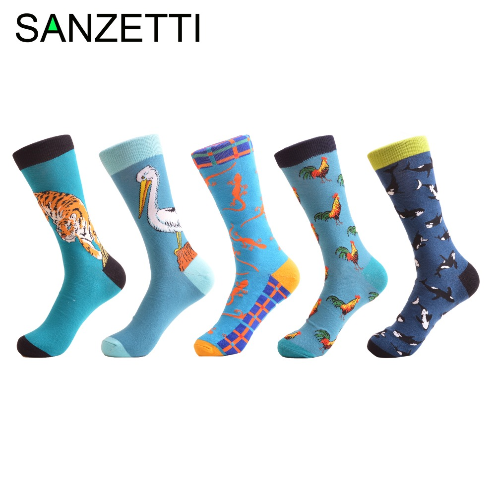 SANZETTI 5 pairs/lot New Arrival Mens Combed Cotton Causal Wedding Socks Blue Cock Whale Pattern Funny Sock Novelty Happy Socks