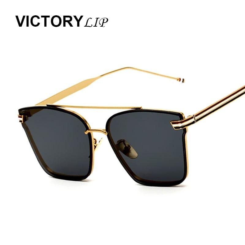 VictoryLip Mode 2017 Marque Designer Carré Lunettes de Soleil Femmes  lunettes de Soleil Hommes Femmes Sans Monture Vintage Revêtement de Lunettes  de soleil ... e6e74343e470