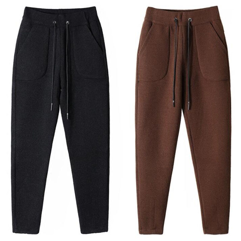 Winter Warm Women Woolen Harem Pants 2018 Autumn Thick Drawstring Elastic Waist Loose Sweatpants Women's Wool Nine Trousers