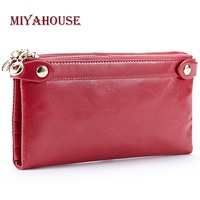 High Quality Female Double Zipper Wallets Genuine Leather Long Purses For Women Clutch Bags Oil Wax Cowhide Cards Wallet