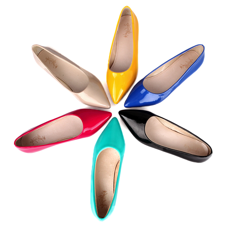 Brand New Hot Sale Blue Red Yellow Black Green Glossy Patent Leather Women Nude Flats ladies