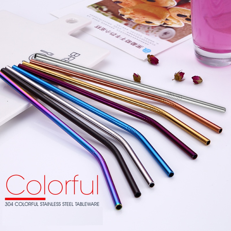 200pcs/lot Colorful 304 Stainless Steel Straws Reusable Drinking Straw High Quality Bent Metal Straw Free laser logo-in Water Bottle & Cup Accessories from Home & Garden    1