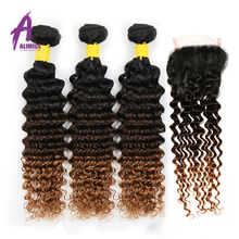 Weaves Hair-Extensions Closure Human-Hair Deep-Wave ALIMICE Indian 3-Bundles Ombre