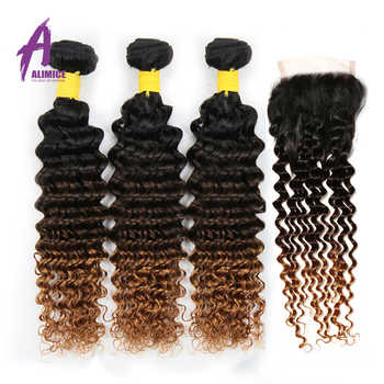 ALIMICE Ombre 3 Bundles With Closure Indian Deep Wave Human Hair Weaves T1B/4/30 Ombre Three Tone Remy Hair Extensions - DISCOUNT ITEM  35% OFF All Category