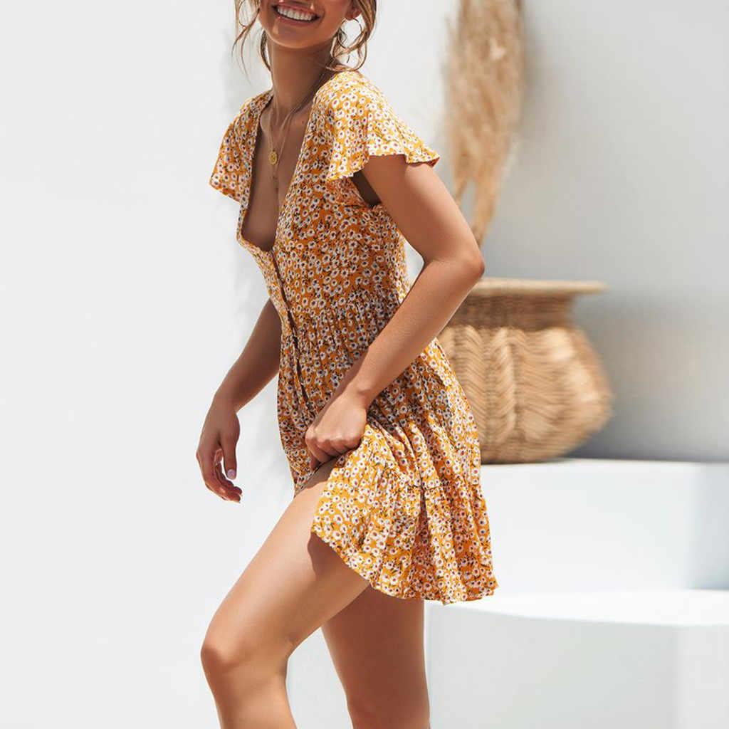 2019 Boho פרחוני הדפסה מזדמן שמלת נשים הקיץ פרחוני המפלגה ערב חוף קצר מיני שמלה קיצית Z4