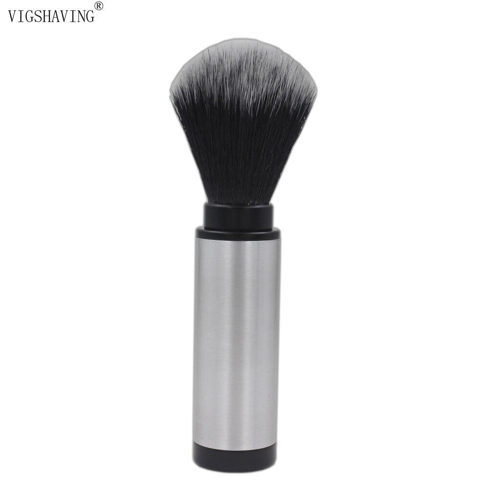 VIGSHAVING Black Synthetic Hair Aluminium Travel Shaving Brush
