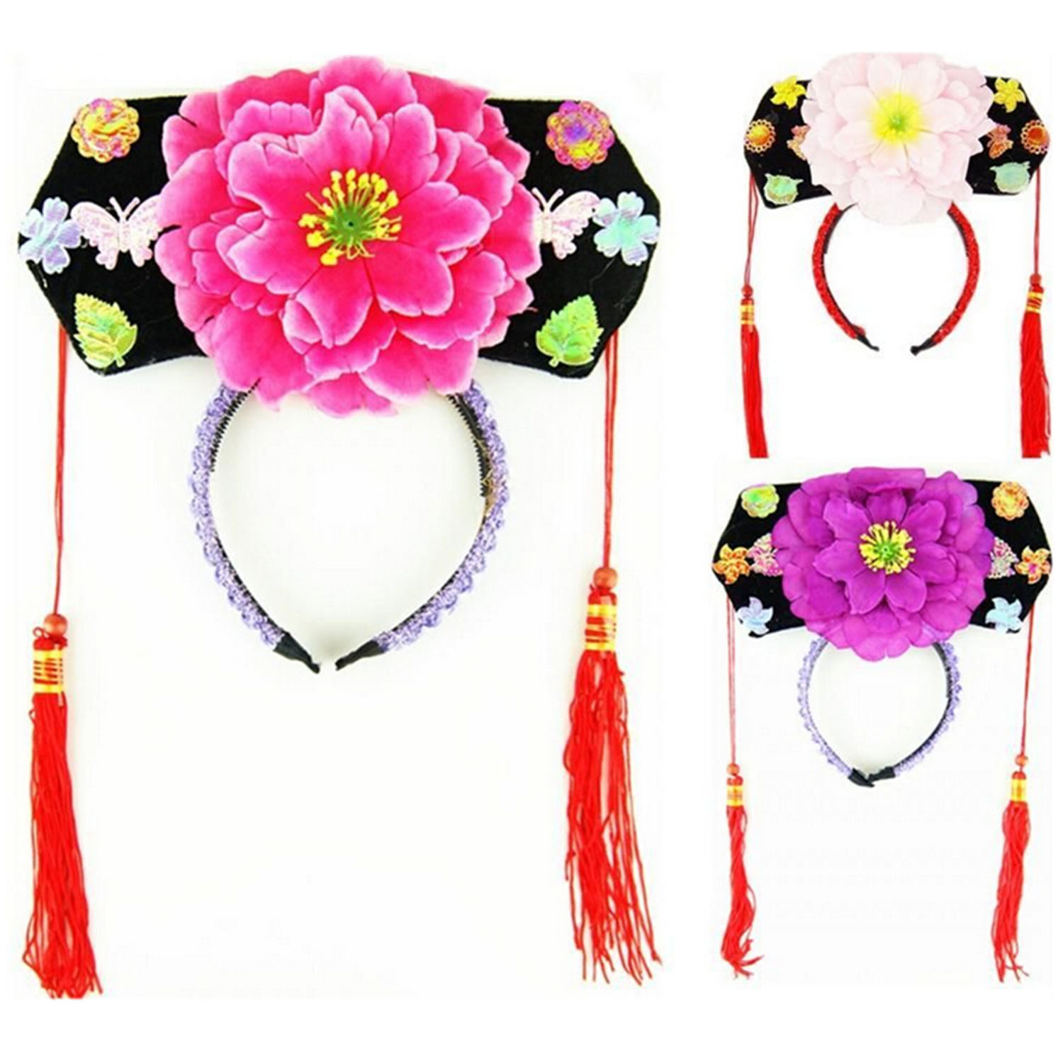 Chinese Japanese Oriental Princess Girls Peony Hairband Hair Accessories Hat Quantity 1 For Stage Show Decoration Random Color