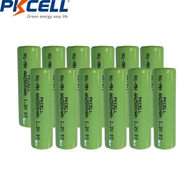 12個ニッケル水素単三充電式バッテリー1.2v 2500mah indurstryパックフラットトップ、非pcm、