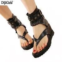 Mùa hè platform sandals Ankle giày punk đinh tán Chuỗi gladiator sandals phụ nữ flip flops womens giày gót và nêm sandal