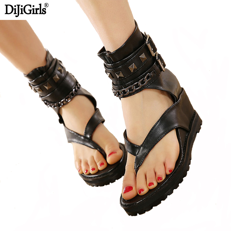 Summer platform sandals Ankle shoes punk Chain rivets gladiator sandals women flip flops womens shoes heels and wedges sandal fashion gladiator sandals flip flops fisherman shoes woman platform wedges summer women shoes casual sandals ankle strap 910741