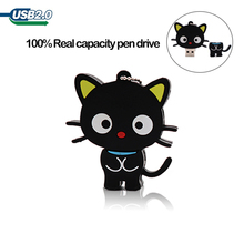 цены USB flash pendrive cute cartoon black cat pen drive 4GB 8GB 16GB 32GB 64GB 128GB memoria usb stick creative gift flash drive cle