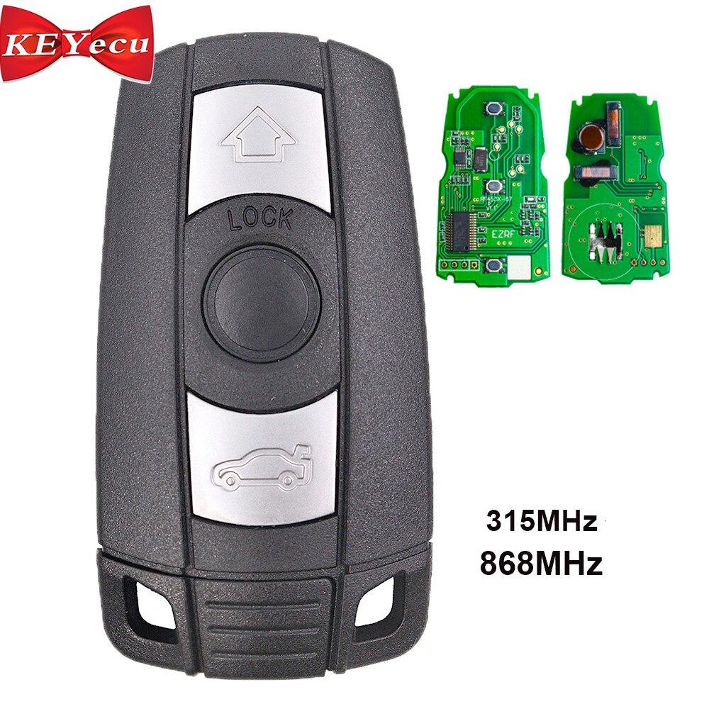 KEYECU 3PCS Smart Remote Control Car Key 315MHz 868MHz PCF7952 Chip 3 Button for BMW CAS3