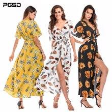 PGSD Fashion Elegant women clothes Summer Flower Printed Chiffon casual Vneck Frenulum Short sleeve sexy Beach Long Dress female