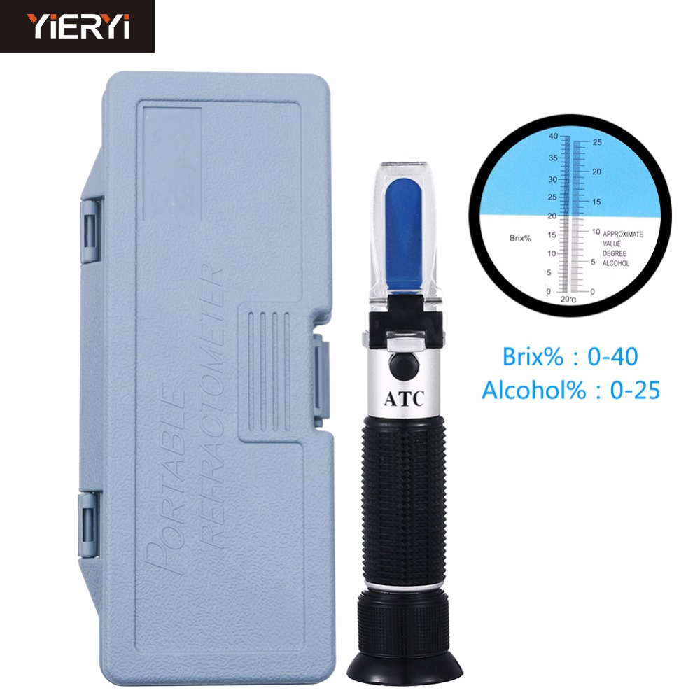 yieryi New Brand 0~40% Brix 0~25% Alcohol Wort Specific Gravity Refractometer Beer Fruit Juice Wine Sugar Test Meter with box new handheld brix refractometer with adjustable focus built in calibration knob 0 32% range atc fruit juice wine cnc