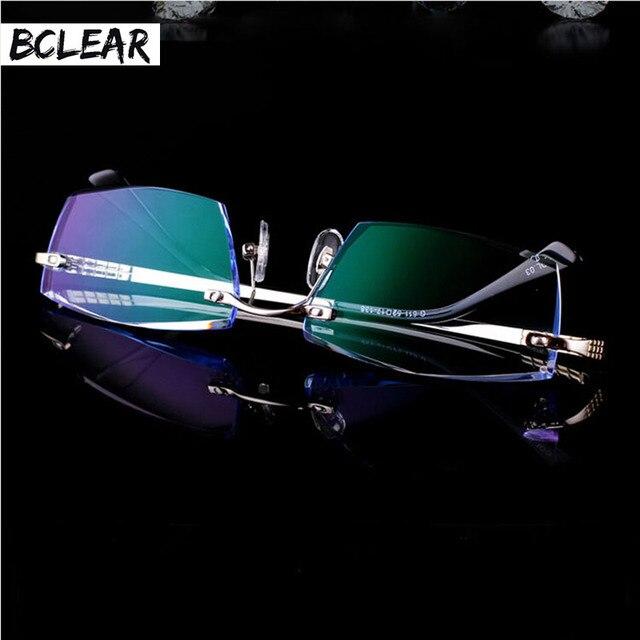 8bd983395c16 BCLEAR coreano hombre diamante corte gafas sin aros marco óptico de gafas  de Alta Atmósfera gafas