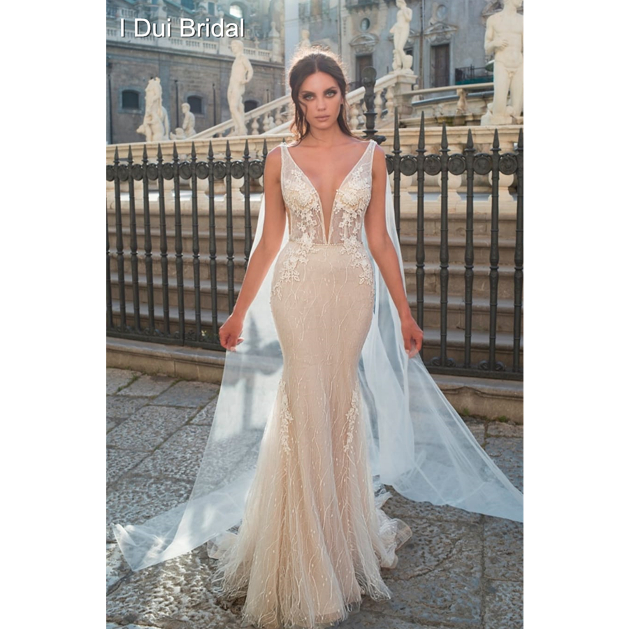 Plunging Neck Mermaid Wedding Dress with Sparkle Sequin Tulle Lace Layer Bridal Gown