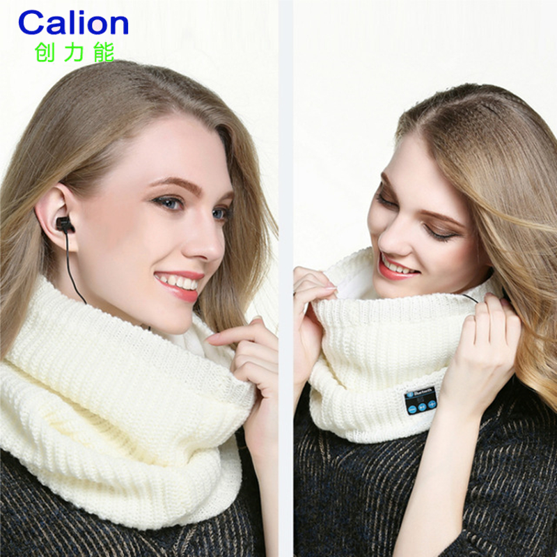 Calion Fashion Winter Scarf With Bluetooth Earphone Knitted Women Scarves Wireless Phone ...
