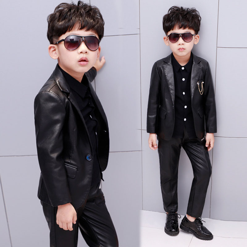aee644aae1 new children blazers suits leather cool school boy s jacket suits good  quality Punk kids  fashion